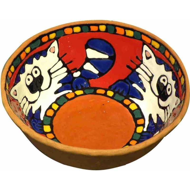 céramique décor animaux fleurs