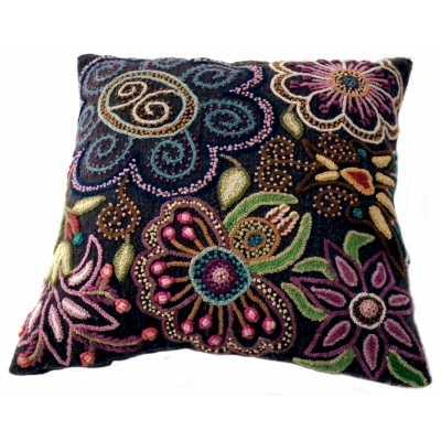 coussin laine décor fleur