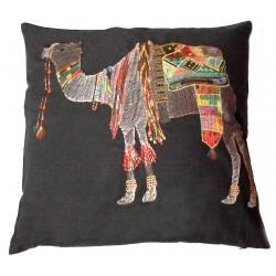 Coussin coton noir chameau