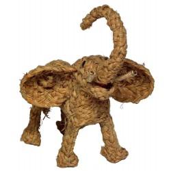 Jouet éléphant en herbe tressée