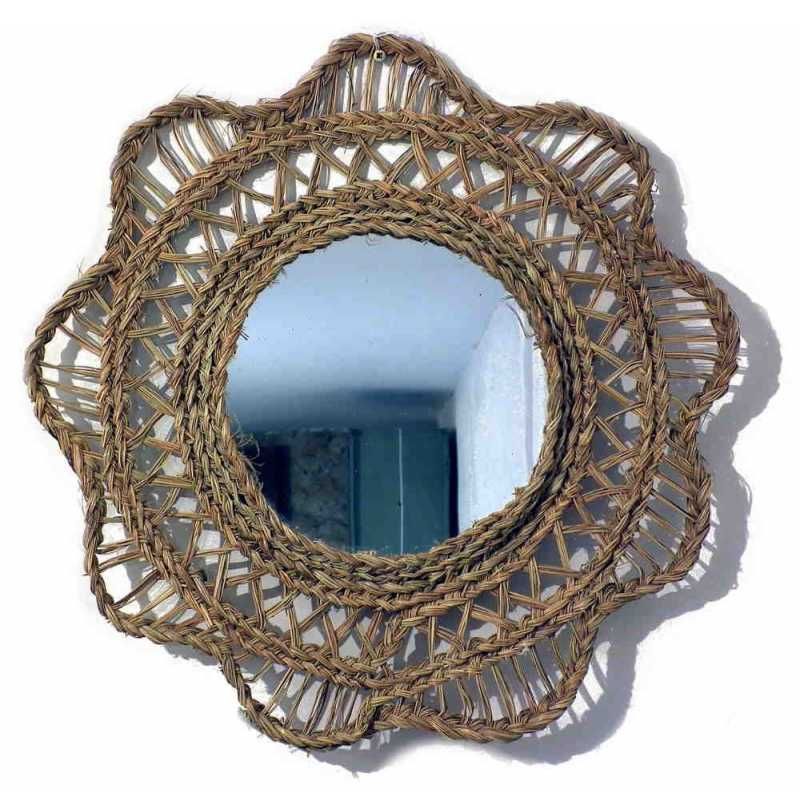 miroir rond avec cadre tressé