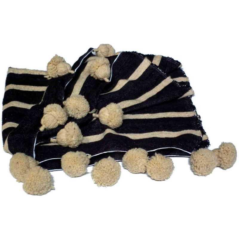 HOPPEDIZ/® Jambi/ères en laine cr/ème par gris bandes