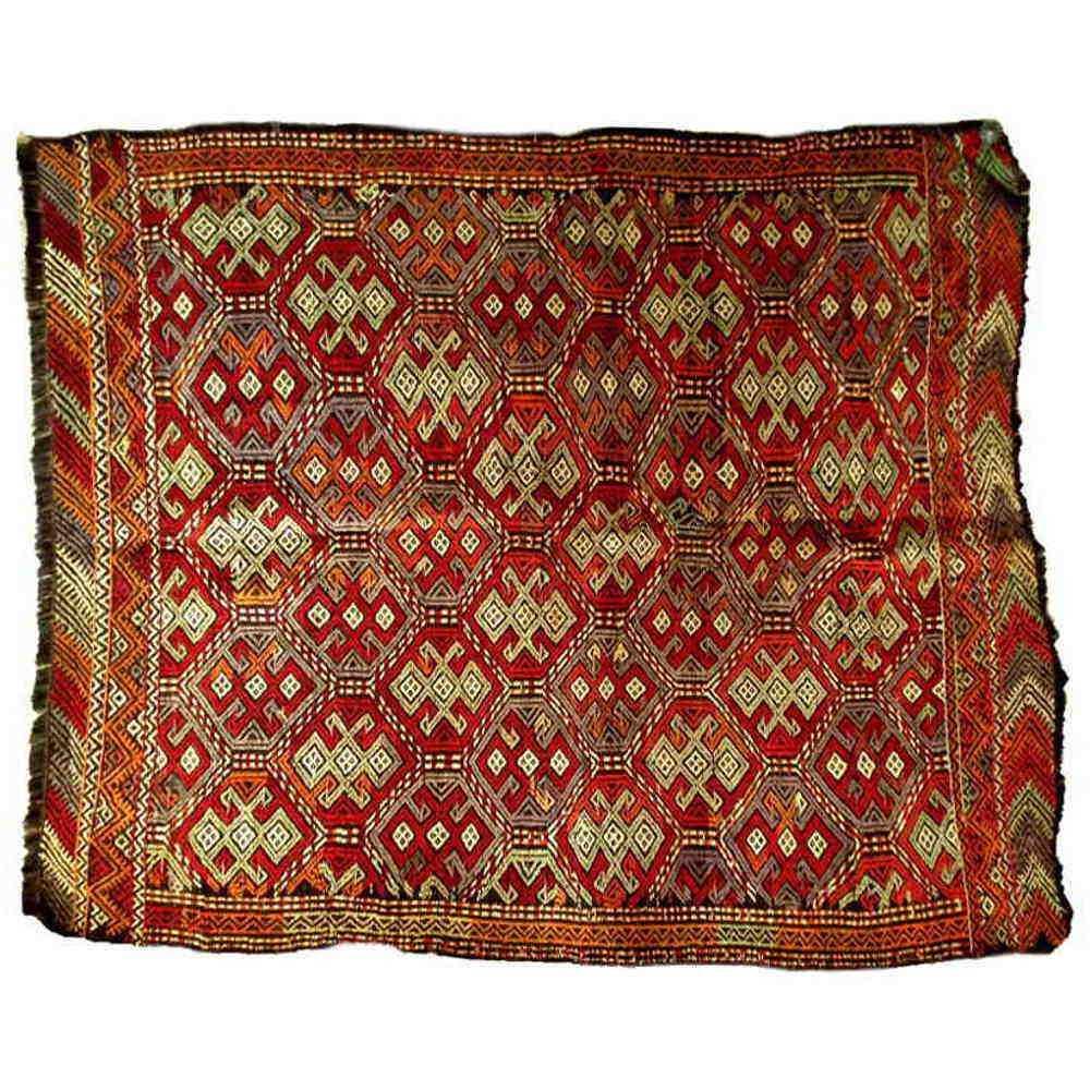 tapis kilim turc en laine et teinture v g tale dimensions 151x122cm. Black Bedroom Furniture Sets. Home Design Ideas