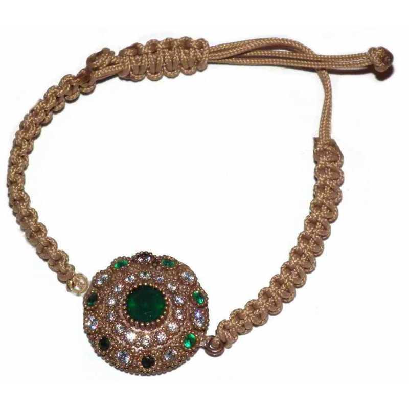 Bracelet en argent pierre tissus