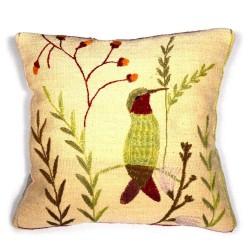 Coussin au colibri