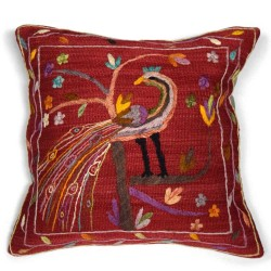 Coussin Paon Rouge