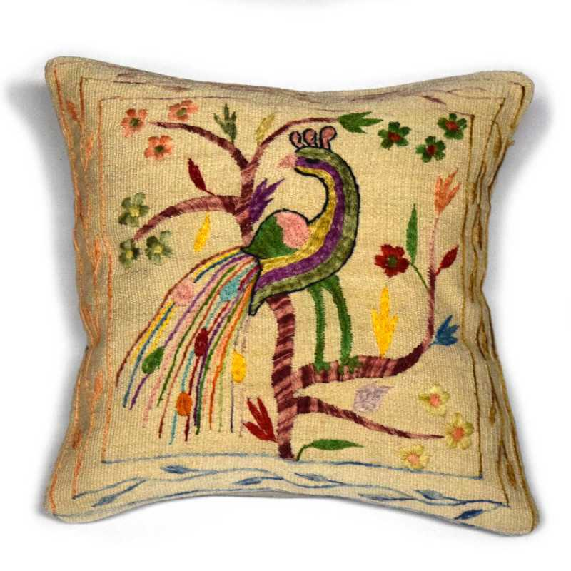 Coussin Paon Blanc